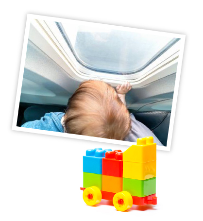 toddler with window seat & toys