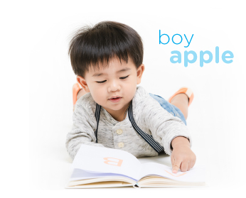 boy learning to read words
